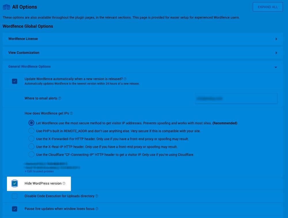 Wordfence Security 設定画面